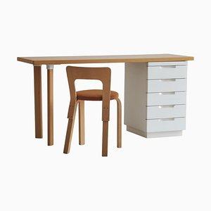 Scrivania nr. 65 e sedia di Alvar Aalto per Artek, Finlandia, anni '60, set di 2