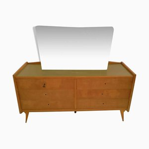 Italian Chest of Drawers with Compass Legs and Mirror, 1950s