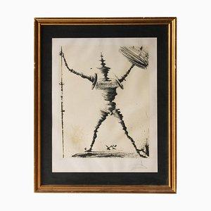Salvador Dalí, Don Quixote von La Mancha, Spanien, 1945, Signierte Lithographie, Gerahmt