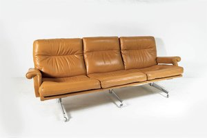 Mid-Century Tan Leather 3-Seat Sofa with Chrome Base from Howard Keith, 1960s