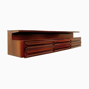 Large Mid-Century Wooden Wall Console, Italy, 1960s