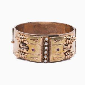 Bourbon Armband aus 9 Karat Gold mit Perlen und Roter Glaspaste, Spätes 19. Jh