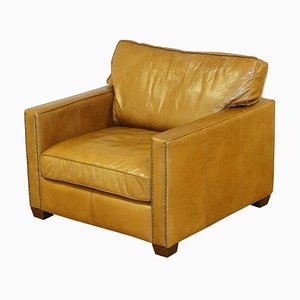 Large Halo Viscount William Lounge Chair in Brown Leather from Timothy Oulton