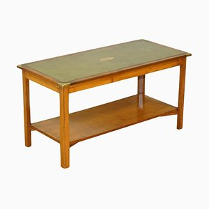 Military Campaign Yew Wood Coffee Table with Green Leather Top from Bevan Funnell