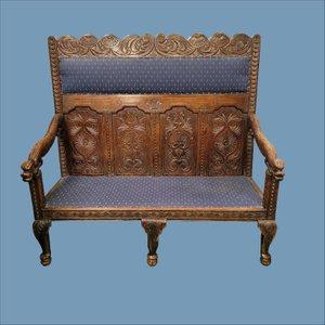 Viktorianische Sitzbank aus geschnitzter Eiche