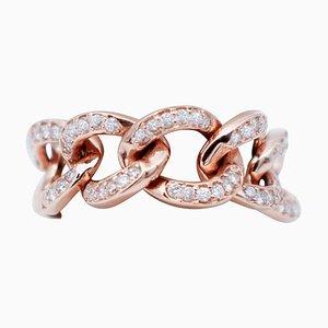 White Diamond & 18 Karat Rose Gold Groumette Model Ring