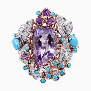 Bague en Améthyste, Turquoise, Diamant, Or Rose 9 Carats et Argent