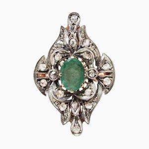 Anillo Fashion de diamantes, esmeralda, oro rosa y plata