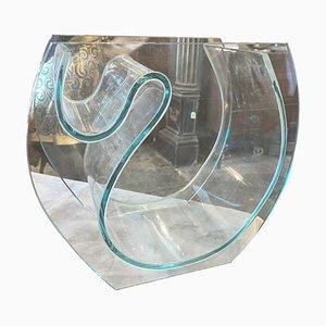 Italienische Modernistische Transparente Grüne Glasvase, 1980er