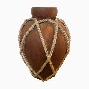 Jarrón Mid-Century moderno de cuerda marrón y blanca de Zaccagnini, años 60