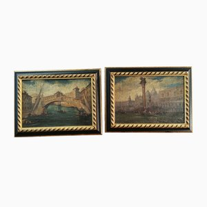 Venice, 18th Century, Oil on Canvas and Cardboard, Set of 2, Framed