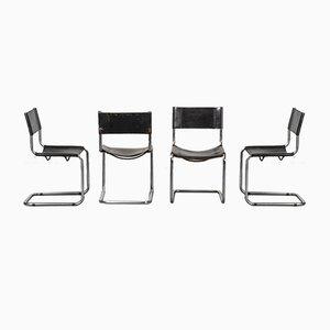 Chaises Vintage en Cuir Noir dans le style de Matteo Grassi, 1970s, Set de 4