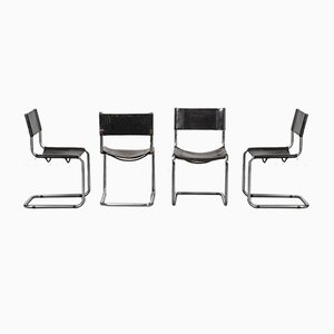 Vintage Black Leather Chairs in the style of Matteo Grassi, 1970s, Set of 4