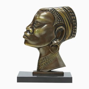 Mid-Century Bronze and Brass Sculpture of an African Woman, 1950s