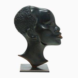 Massive Bronzeskulptur einer Afrikanerin, 1950er