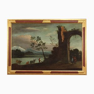 Landscape with Ruins, Italy, Painting, 18th Century, Framed