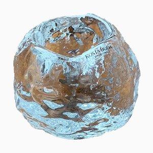 Bougeoir Boule de Neige Vintage en Verre par Ann Wärff pour Kosta Boda, Suède