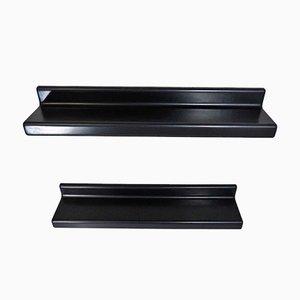 Estantes de pared de fibra de vidrio negra, años 60. Juego de 2