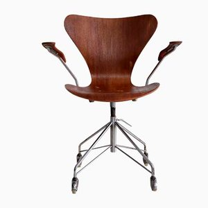 Chaise de Bureau 3207 par Arne Jacobsen pour Fritz Hansen, 1960