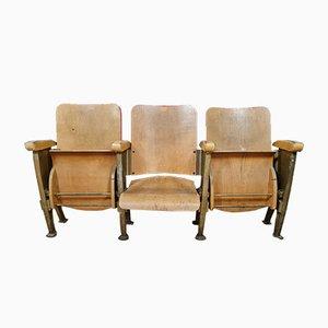 Banco de cine triple de madera y acero, siglo XX