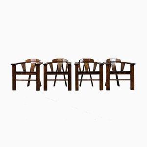 Brutalist Oak Chairs, 1970s, Set of 4