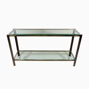 Consola de bronce y vidrio, años 70