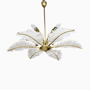 Chandelier of Nikoll Leaves with Crystal Ball from Rupert Nikoll, 1950s