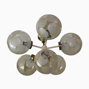 6-Flame Chandelier in Nikoll with Glass Balls from Rupert Nikoll, 1950s