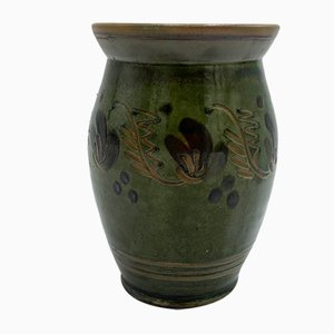 Grüne Keramikvase von Rzut Toruń, Polen, 1960er