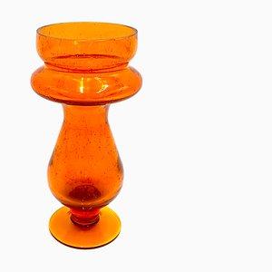 Jarrón naranja de Barbara Glassworks, Polonia, años 80