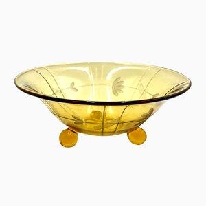 Polish Art Deco Bowl from Ząbkowice Glassworks, 1960s