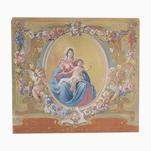 Madonna with Baby, Tempera on Canvas, Early 1900s