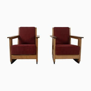 Amsterdam School Armchairs, the Netherlands, 1930s, Set of 2