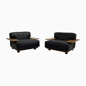 Pianura Armchairs in Black Leather by Mario Bellini for Cassina, 1970s, Set of 2