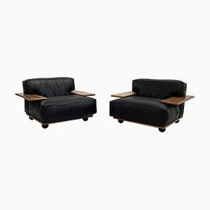 Pianura Sessel aus schwarzem Leder von Mario Bellini für Cassina, 1970er, 2er Set