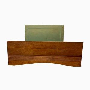 Cama Art Déco de cerezo con base de arce y cabecero acolchado estrecho