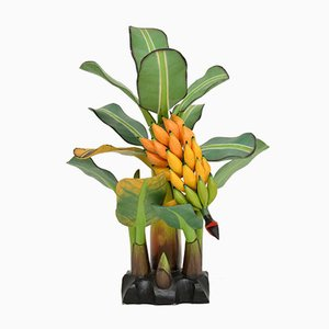 South American Carved Wood Banana Tree Sculpture