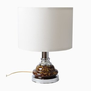 Chromed Metal and Brown Ceramic Table Lamp from Massive Lighting, 1970s