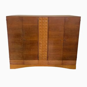 Art Deco Wardrobe in Cherry and Maple Carved at the Center and Base
