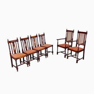 Dining Chairs and Armchairs with Twisted Legs, Early 1900s, Set of 6