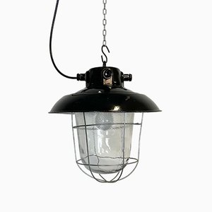 Lampe à Suspension d'Usine Industrielle en Émail Noir, 1960s