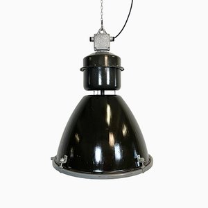 Large Black Enamel Industrial Lamp with Clear Glass Cover from Elektrosvit, 1960s
