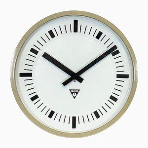 Industrial Beige Bakelite Wall Clock from Pragotron, 1970s
