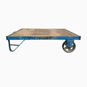 Industrial Blue Coffee Table Cart, 1960s