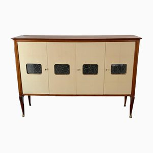 Mahogany and Parchment Cabinet, Italy, 1950s