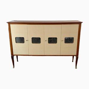 Mueble de caoba y pergamino, años 50