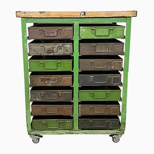 Industrial Iron Chest of Drawers on Wheels, 1950s