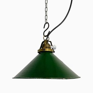 Lampe Industrielle en Émail Vert, 1930s