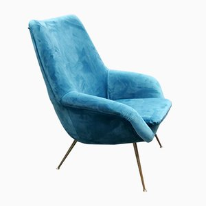 French Plush Armchair, 1950s