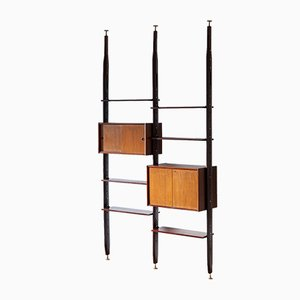 Italian Modern Floor to Ceiling Wall Unit in Exotic Wood, 1950s